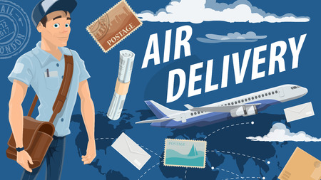Air mail delivery and mailman, cartoon vector. Vector airplane cargo or freight shipping parcel boxes, newspapers, magazines and letter envelopes with postage stamps Postman standing with correspondence Illustration
