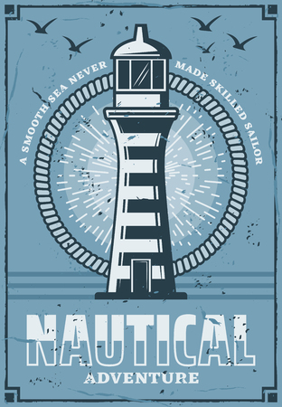 Nautical lighthouse tower building vintage poster, marine adventure. Vector retro design or safe sail beacon on seaside with light beams and seagulls in blue sky