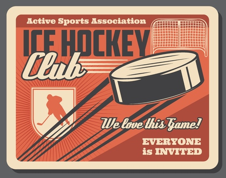 Ice hockey training and sport association vintage poster. Vector retro hockey forward player with flying puck to gates on ice arena, vintage style