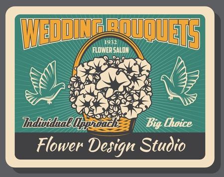 Wedding bouquets, bridal ceremony element, flower design studio. Vector petunias basket, doves or pigeons, bride accessory, florists shop. Marriage celebration, family event, arrangement service