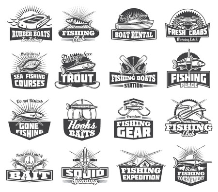 Fishing club or fisher sport adventure expedition icons. Vector boat and salmon, rerch and bass, eel and squid, pike and flounder, fish catch lures and tackles, fishing rod and hooks or camp tent
