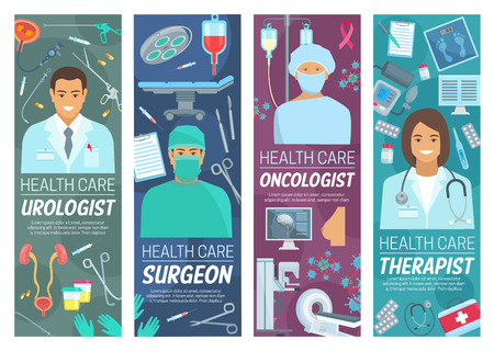 Medical clinic, doctors and therapy. Vector urologist, surgeon or oncologist therapist, medicine and healt hcare. Urology therapy and oncology surgery, medical treatment, equipment and diagnostics Ilustracja