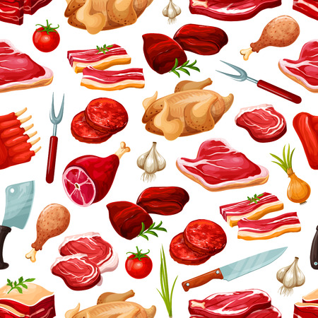 Butcher shop meat products vector seamless pattern background. Farm butchery beef and pork, grill lamb ribs, bacon or ham with salami and pepperoni, onion and garlic cooking spices, cutlery Illustration