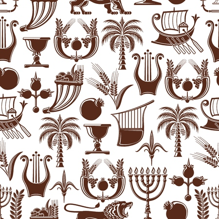 Israel culture and travel traditional pattern background. Vector seamless Jewish and Judaism religion Hanukkah Menorah, Shofar horn and palm with pomegranate, lion and ship, wheat and laurel wreath Foto de archivo - 112262625