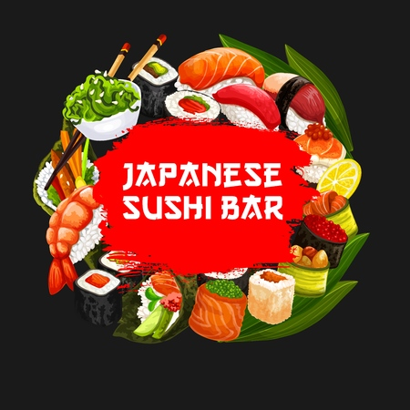 Sushi bar menu cover of Japanese cuisine restaurant. Vector asian food sushi and rolls with seaweed salad, salmon or eel, shrimp and caviar sashimi with chopsticks
