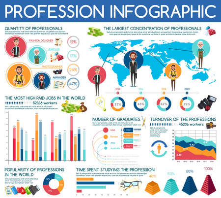 Professions infographic of jobs and occupation charts, wage diagrams and popularity statistics on world map. Vector fashion designer, jeweler or photographer and business manager men Illustration