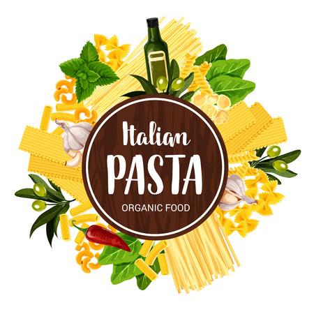Italian pasta restaurant menu cover or pasta cooking poster. Vector spaghetti, fettucine or ravioli and tagliatelle, lasagna or linguine, farfalle and fusilli, olive oil with basil and rosemary spices