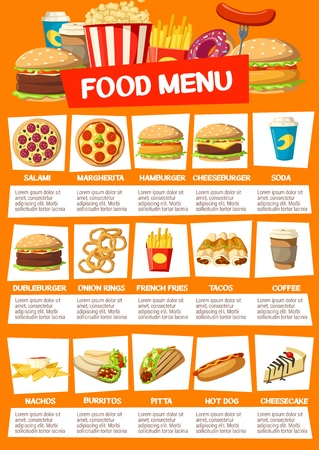 Fast food restaurant menu. Vector pizza, cheeseburger or hamburger, soda and onion rings, french fries and tacos, nachos and coffee drink. Burritos and pita, hot dog and cheesecake, popcorn and donut