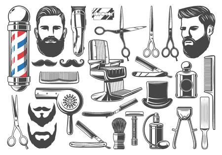 Strumenti e attrezzature da barbiere, barba o baffi da barba e taglio di capelli. Insieme di vettore della segnaletica del palo del negozio di barbiere, sedia o forbici, pennello da barba, tagliacapelli e rasoio, asciugacapelli e cappello