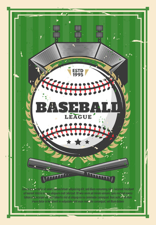 Baseball sport game, league old grunge poster. Vector baseball ball with crossed player bats in victory laurel golden wreath on arena stadium, green striped retro background