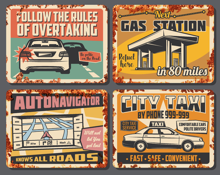 Car service, city taxi, gas station and road accident signboard. Vector vintage design of refueeling, overtake road rules, car taxi and navigator map of transportation traffic Illustration