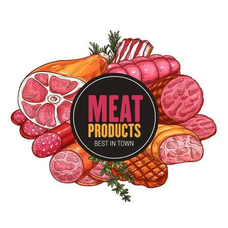 Butcher shop meat and sausages products. Vector farm butchery beef and pork, grill lamb ribs, bacon or ham with salami and pepperoni sausage and wurst 일러스트