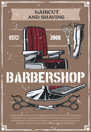 Barbershop salon retro poster. Vector barber shop beard shave and haircut vintage barber chair with clipper and scissors on old background, hygiene theme