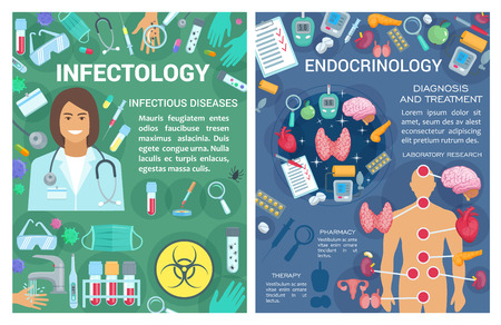 Endocrinology and infectology clinic. Vector infectologist and endocrinologist doctors, organs, diagnostic equipment and treatment pills of thyroid endocrine system and infectious diseases tests