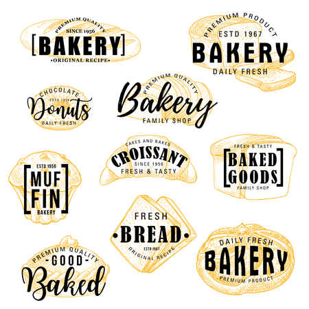 Bakery shop sketch lettering, bread and patisserie pastry desserts menu. Vector calligraphy of wheat loaf, donut or muffin and croissant with buns, bagel or toast bread and fruit pie Vettoriali
