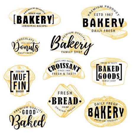 Iscrizione di schizzo del negozio di panetteria, menu di dolci di pasticceria di pane e pasticceria. Calligrafia vettoriale di pagnotta di grano, ciambella o muffin e croissant con panini, bagel o pane tostato e torta di frutta Vettoriali