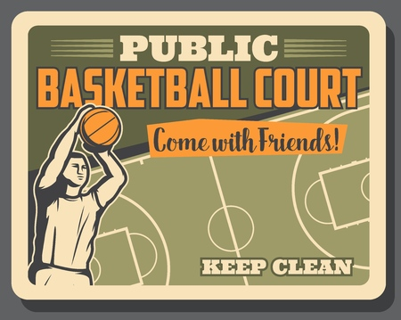 Basketball retro poster of player man with ball ams sport court. Vector basketball sport game signboard, victory cup tournament on arena or stadium public court
