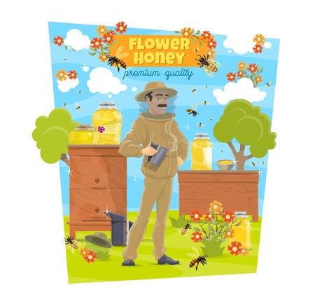 Apiculture de miel de fleurs et apiculteur dans les ruches, agriculture. Production de miel de fleurs biologiques naturelles vectorielles, abeilles, nid d'abeilles et ruches avec homme en uniforme protecteur