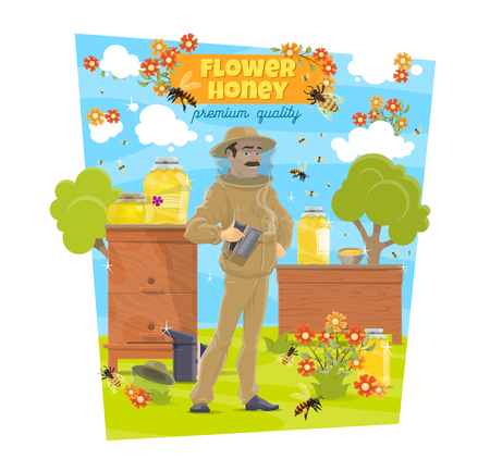 Flower honey beekeeping and beekeeper at beehives, agriculture. Vector natural organic flower honey production, bees, honeycomb and hives with man in protective uniform