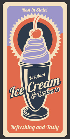 Ice cream vintage retro poster of cafeteria, cafe or dessert menu. Vector advertisement design of ice cream dessert with whipped cream and cherry topping, retro colors