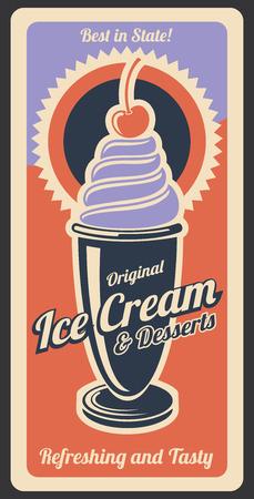 Lody vintage retro plakat z menu stołówka, kawiarnia lub deser. Projekt reklamy wektorowej deser lodowy z bitą śmietaną i polewą wiśniową, kolory retro