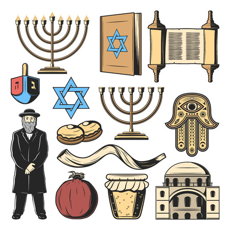 Jewish symbols and Judaism religion and culture items. Vector Hanukkah menorah Hanukiyot lampstand, David Star and Torah scroll, Jew rabbi priest with Hamsa hand amulet, Shofar horn and dreidel