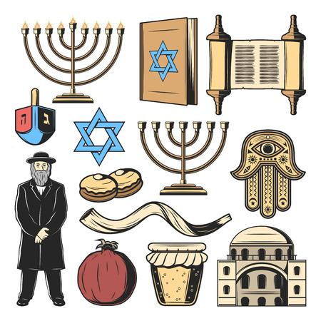 Symboles juifs et objets religieux et culturels du judaïsme. Vector Hanukkah menorah Hanukiyot chandelier, David Star et Torah, prêtre rabbin juif avec amulette à main Hamsa, corne Shofar et dreidel