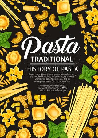 Italiaanse pasta kookboek vector omslagontwerp. Traditionele keuken pasta eten kookrecepten van spaghetti en farfalle, fettucine en ravioli, tagliatelle en lasagne, linguine en penne, cannelloni Vector Illustratie