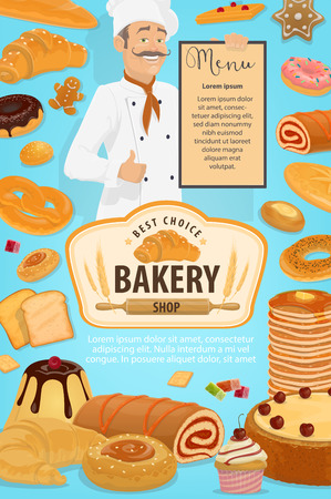 Bakery shop poster with baker holding menu of patisserie pastry desserts. Vector baked bread, sweet cakes and fruit cookies with donut, chocolate croissant or wheat bagel and muffin with honey