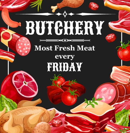 Butcher shop meat products. Vector farm butchery beef and pork, chicken legs grill and lamb ribs with bacon, ham and salami or pepperoni sausages and wurst