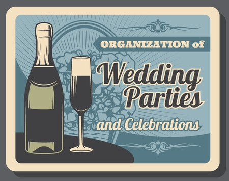 Wedding party and banquet, marriage celebration, champagne bottle and glass. Event arrangement and holiday organization. Vector flowers bouquet in wicker basket, bridal ceremony and engagement parties  イラスト・ベクター素材