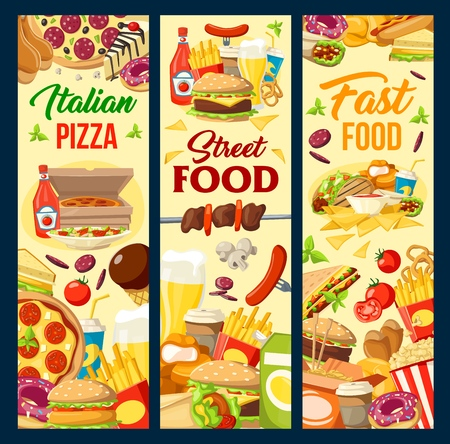 Fast food menu banners with burgers aand nuggets, pizza and hot dog. Vector fastfood restaurant Mexican and Asian cuisine BBQ meals, french fries or tacos and burrito, sandwich and kebab grill Vector Illustration
