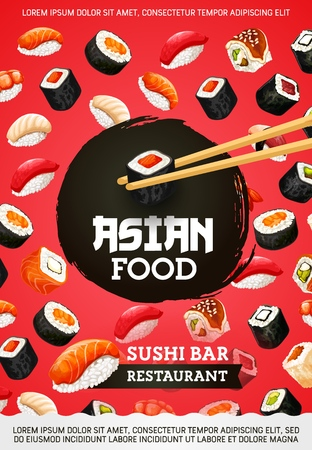 Sushi and rolls, asian food, Japanese cuisine. Vector seafood, perch and shrimp, salmon and tuna, eel and avocado, tofu cheese. Unagi and sashimi, eel and nigiri, maki and chopsticks Stock Vector - 112262702
