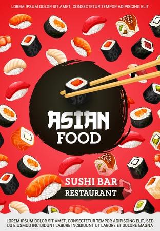 Sushi and rolls, asian food, Japanese cuisine. Vector seafood, perch and shrimp, salmon and tuna, eel and avocado, tofu cheese. Unagi and sashimi, eel and nigiri, maki and chopsticks