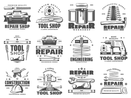 Construction, repair, service and handyman work tool shop icons. Vector symbols of carpentry hammer, woodwork plane grinder and painting brush, drill and wrench or spanner, saw and wheelbarrow