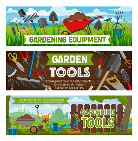 Gardening equipment and planting tools. Vector farm garden spade and rake, watering can and sole in wheelbarrow, saw and tree secateurs, hoe and pitchfork, sixkle and knife, tillage and hose