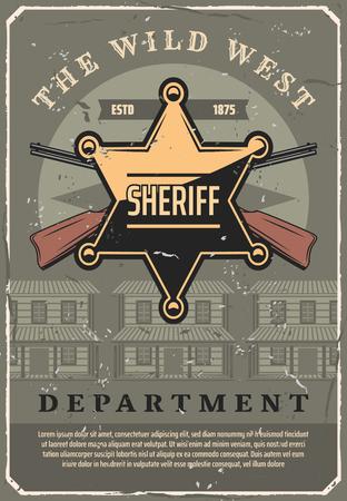 Manifesto dell'annata del dipartimento di polizia dello sceriffo del selvaggio West. Vecchio design occidentale americano dello sceriffo con stella dorata e fucili incrociati o pistole al bar del saloon dei cowboy