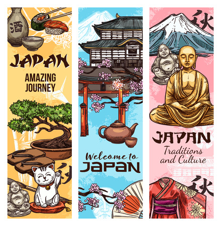 Japan culture and traditional symbols and landmarks, vector banners. Japanese Fuji mount, temple and Buddha statue with geisha kimono, sushi and sake, tea ceremony and torii gate, sakura and bonsai Illustration