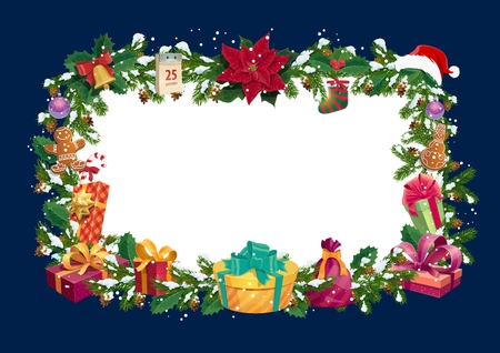 Christmas winter holiday blank empty greeting card with Xmas tree decorations frame. Vector Santa gifts and holly poinsettia, garland and sock, calendar and hat in snow with Christmas ornaments Illusztráció