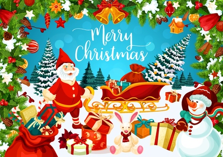 Christmas greeting card with snowman and dwarf. Carriage with presents and gift boxes on snow, decorated Xmas tree and bunny toy. Fir branches with cones and jingle bells on holiday postcard vector