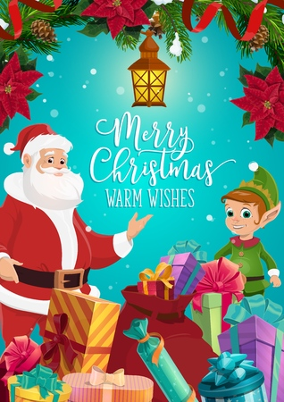 Santa Claus and Christmas elf with Xmas gifts and present boxes vector greeting card, decorated with pine tree branches, ribbon bow and snow, poinsettia, snowflakes and lantern. Winter holidays design