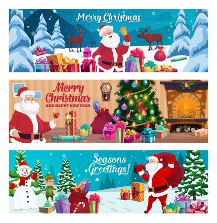 Merry Christmas and Happy New Year greetings, winter holidays. Vector Santa Claus and elf helper, deer and snowman, gift boxes or presents, fireplace and Xmas tree, forest and sack, cane candy