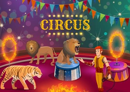 Zirkustiershow mit der Leistung von Löwen- und Tigerbändiger, Vektordesign. Trainer und Wildkatzen, die Tricks mit Feuerringen auf der oberen Zeltarena ausführen, geschmückt mit Fahnen und Lichtern