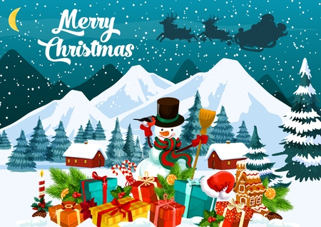 Christmas greeting card with snowman and gifts. Carriage with Santa Claus silhouette in sky and presents on snow, Xmas trees and candle. Fir branches and gingerbread house holiday card vector