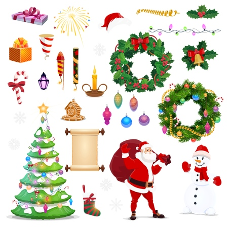 Christmas icons of Xmas and New Year vector winter holiday vector symbols. Santa, snowman with pine tree, gifts bag, bell and candle, red hat and gingerbread, holly wreath and candy, balls and sock
