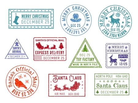 Santa Claus mail stamps. Vector deer and snowflakes, gingerbread man and sleigh, Christmastree and bullfinch. Post, postcard and letter element, direction or address, toy factory Stockfoto - 127471777