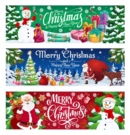 Merry Christmas winter holiday, vector banners. Santa Claus and elf, snowman and deer, Xmas tree and garland. Gifts and candies, mittens and gingerbread cookies, presents and sack