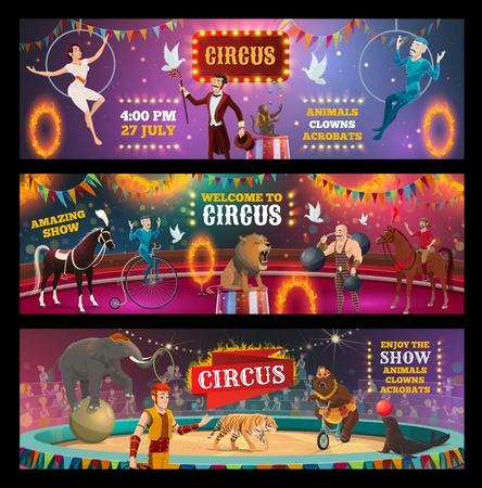 Vector circus show and carnival performance of clown, magician and animal trainer, juggler, acrobats and strongman performers on arena stage with lion, elephant and bear, horse, tiger and seal Illustration