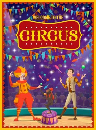 Große Zirkusshow, Clown und Jongleur, trainierter Affe. Vektorbühne oder Arena, Girlande und Publikum, Darsteller und Tiere, Unterhaltung und Unterhaltung, Darsteller mit Make-up und Tricks, Karneval Vektorgrafik