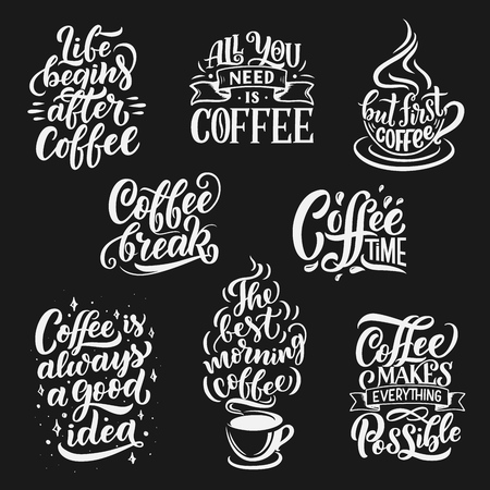 Coffee drink quotes and cafe lettering. Vector calligraphy messages with coffee cup, bean and steam of americano or cappuccino, with ribbons and morning espresso mug